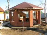 беседка кирпичная фундамент кирпич столбы проект размер высота крыша пол стены мангал барбекю жаровня